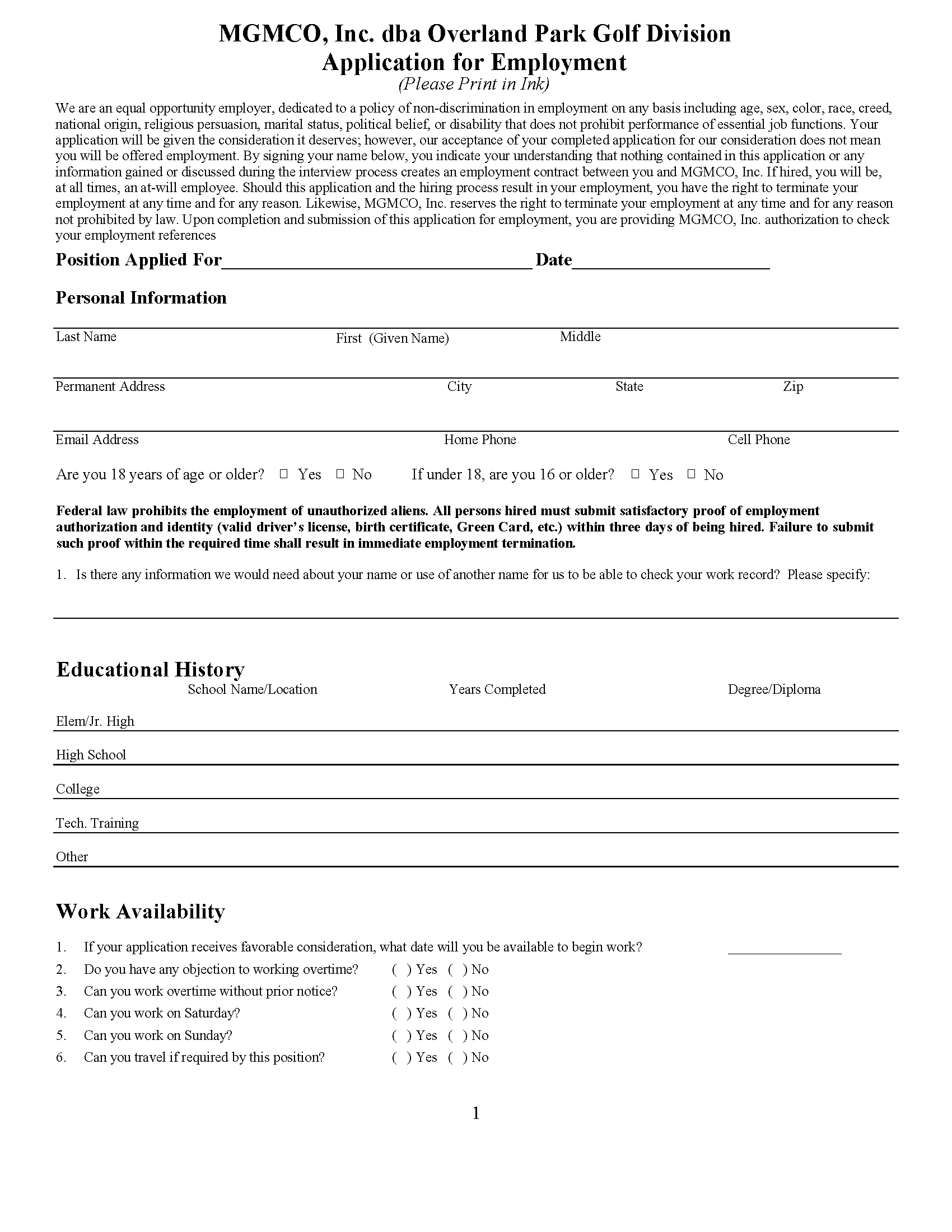 2020 Application For Employment UPDATED 071420 2 Page 1